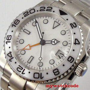 40mm BLIGER white dial ceramic bezel GMT Automatic mens Watch sapphire glass