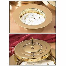 Brass Finish Stacking Bread Plate and Bread Plate Cover by Living Grace