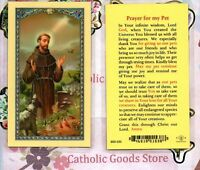Saint St. Francis with Prayer for Pets - Laminated Holy Card