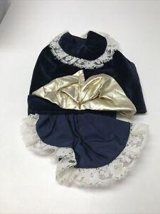 Blue Velveteen Dog Costume Dogwear Outdoorwear Tea Party Lace Gold Bow KG