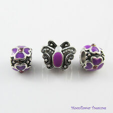 Purple Antique Butterfly Bead Gift Set fit European Charm Bracelet