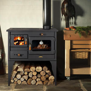 Wood Burning Cooking Stove + FREE Heatexchanger Cast Iron Top 10kw Prity Oven