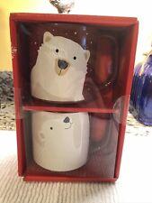 Tim Hortons 2019 Limited Edition Coffee Mug Set Of 2 Stackable Polar Bear Mugs