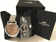 NWT Coach Women's Lex 32mm Mesh Silver Stainless Steel Watch & Bangle Set W1608