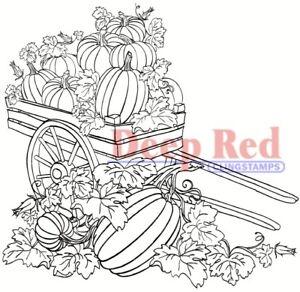 Deep Red Stamps Pumpkin Harvest Rubber Cling Stamp