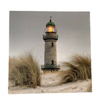 New LED Light Up HD Seashore Lighthouse Scene Wall Home Decor Canvas Picture Art