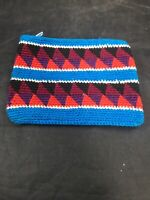 Blue Red Black Vintage Guatemalan Hand Woven Coin Purse  Pouch Wallet NOS