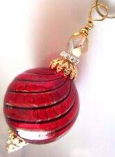 Murano Blown Glass Bead Christmas Tree Ornament Pendant Kirsten USA Made Red