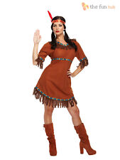 Red Indian Woman Squaw Costume Pocahontas Ladies Womens Fancy Dress Outfit 8- 12