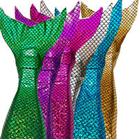 scale Swimmable Mermaid Tails Bikini top monofin kids girls BOY cos gift