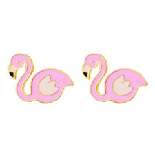 Gold and Light Pink Spring Summer Fashion Women Flamingo Bird Cute Earrings