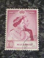 MAURITIUS POSTAGE STAMP SG271 10R ROYAL SILVER WEDDING 1948 SUPERB USED