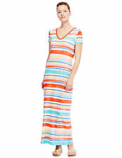 BNWT M&S Collection Ladies Multi Stripe T-Shirt Maxi Dress Size 12 Regular