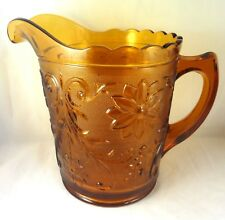 "TIARA AMBER SANDWICH GLASS 68 Oz WATER PITCHER 7 1/4"" Tall Heavy"