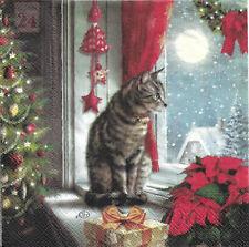 Lot de 2 Serviettes en papier Chat à Noël Decoupage Collage Decopatch