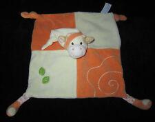 Doudou carré plat Vache orange écru crème beige bonnet feuilles vertes Gipsy