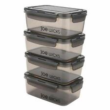 Food Storage - 4 Piece Rectangular Container Set 920ml Grey Clear