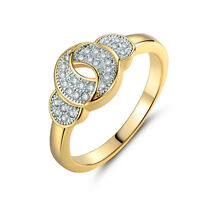 Lovely Hollow Candy Spiral Knot Paved Diamond Silver & Gold Filled Lady Rings