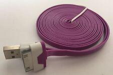 Heavy Duty strong apple iphone 4 4S Ipod Ipad 2 3 USB lead cable flat 3M purple