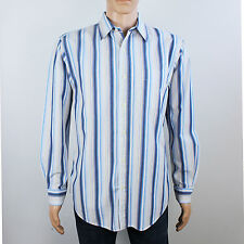 GAP mens Size M relaxed long fit long sleeve white stripe shirt