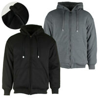 Maxxsel Men's Matching Color Thermal Lined Full Zip Heavy Duty Hoodie