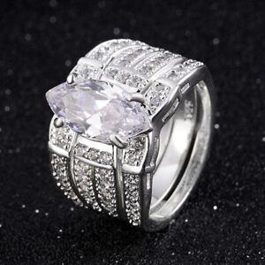 Gorgeous Rings For Women Size 8 Promise White Topaz 18K White Gold Filled