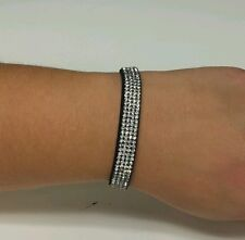 ***STUNNING*** RINESTONE BLACK LEATHER ADJUSTABLE  BRACELET