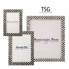 Picture Frame Checked Pattern Inspired Bone Inlay Handmade Photo Frames 3 sizes
