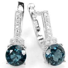 Sterling Silver 925 Genuine Oval London Blue Topaz Drop Design Earrings