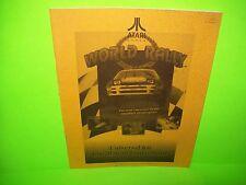 Atari WORLD RALLY Original 1993 Video Arcade Game Service Repair Kit Manual