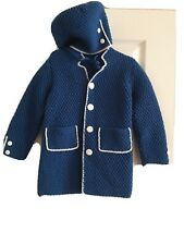 Hand Knit Toddler Unisex Sweater/Coat and Hat set Blue 2T-4Tsee Measurements