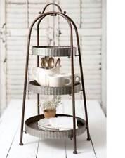 ThreeTiered Round Rustic Primitive Galvanized Metal Storage Basket Bin Stand
