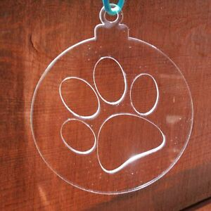 4 Pack of Large Paw Print Clear Acrylic Christmas Decorations
