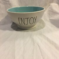 Rae Dunn ENJOY Bowl  Artisan Collection by Magenta Farmhouse Large Letter Blue