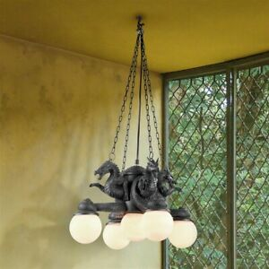 Gothic Medieval 4 Dragons Cardinal Directions Sculptural Lamp Castle Chandelier
