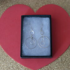 Nice Silver Earrings With 3 Loops 3 Gr.4 Cm.Long + Hooks In Elegant Gift Box