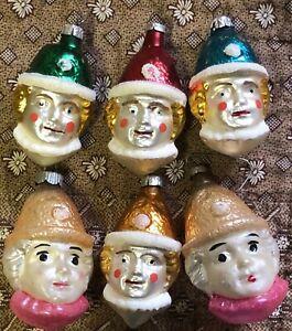 RARE SET OF 6 ANTIQUE GLASS GERMAN BOY CLOWN HEADS  CHRISTMAS ORNAMENTS