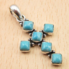 Simulated LARIMAR 6 Stone Cross Pendant 1 1/2 Inch Silver Plated Jewelry