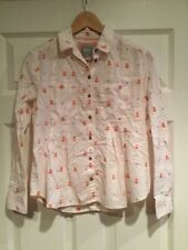 Maeve Anthropologie White Button Down Shirt Red and Blue Accents, Size 0