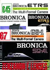 Bronica ETR, ETRS, ETRSi, SQ, SQ-A, GS-1, RF645 Brochures, colour, x20 (18228)
