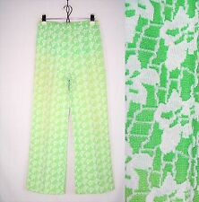 Vintage 70's Lime Green Floral Pants Hippy Kitsch High Waist Trousers Xs S /w397
