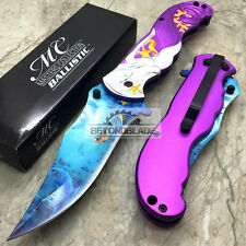 """Master Collection Purple Mermaid Tactical Rescue Pocket 3.8"""" Blade Knife"""