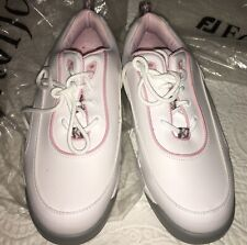 New Footjoy Greenjoys Golf Shoes White And Pink Womens Size 8W Lace Up
