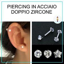 piercing orecchino trago cartilagine lobo doppio zircone a stella cuore tondo.