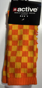 NEW Active Ride Shop - Skate Socks - Men's Checkered Orange And Yellow One Size