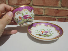 Old Antique Nast Paris Porcelain Cup & Saucer Bird Landscape Fishscale Edge Gold