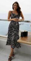 ex Oasis Zebra Animal Print Cowl Neck Midi Satin Dress