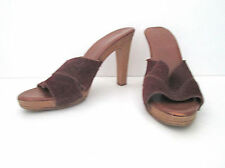 Vtg 1970's burgundy suede cross straps platform heels disco pumps shoes Sz 5