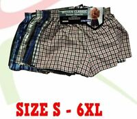 Men's Poly Cotton Assorted Classic Woven Boxer Shorts Underwear Pants 6 12 PAIRS