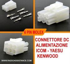 6 PIN MOLEX CONNETTORE DC ALIMENTAZIONE ICOM - YAESU - KENWOOD - ALINCO